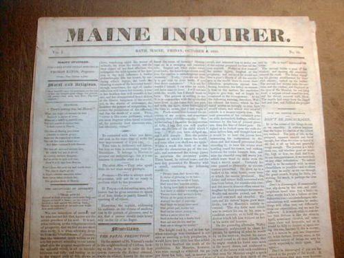 RARE Original 1825 Maine Inquirer Newspaper Bath Me.