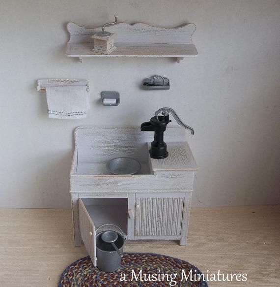 Photo of Ready Built Miniature Wet or Dry Sink in 1:12 Scale for Shabby French Dollhouse Kitchen