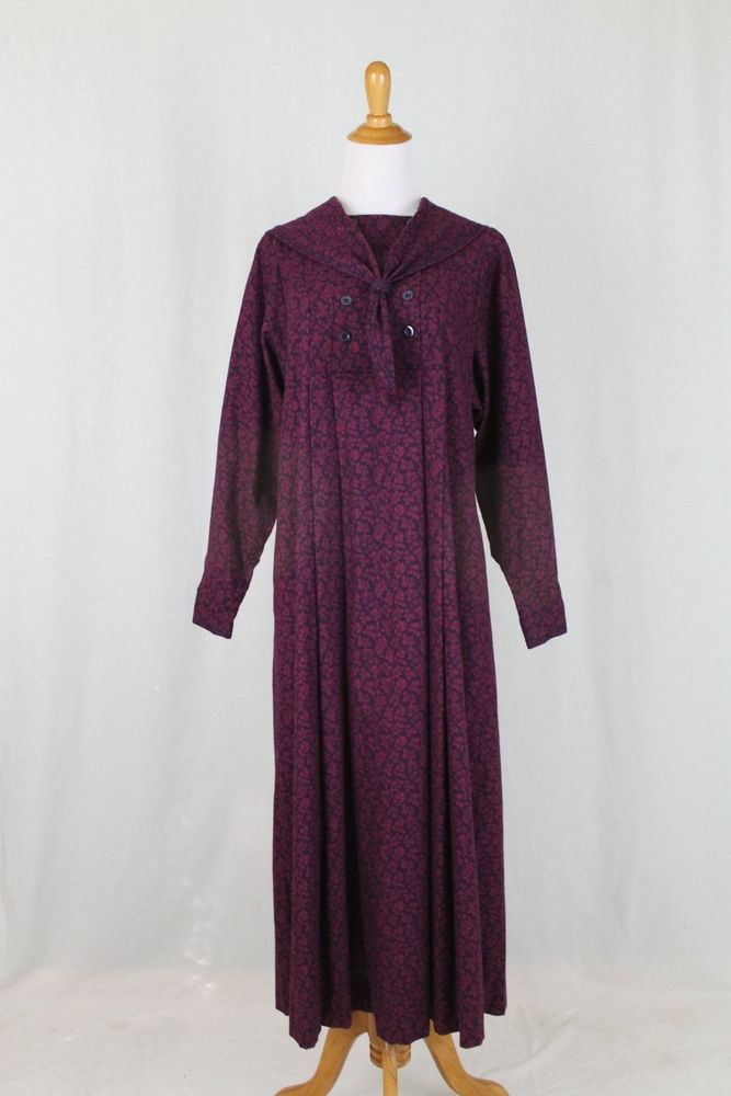 Vintage Laura Ashley Edwardian Wool Blend Flannel Sailor Dress Maxi ...