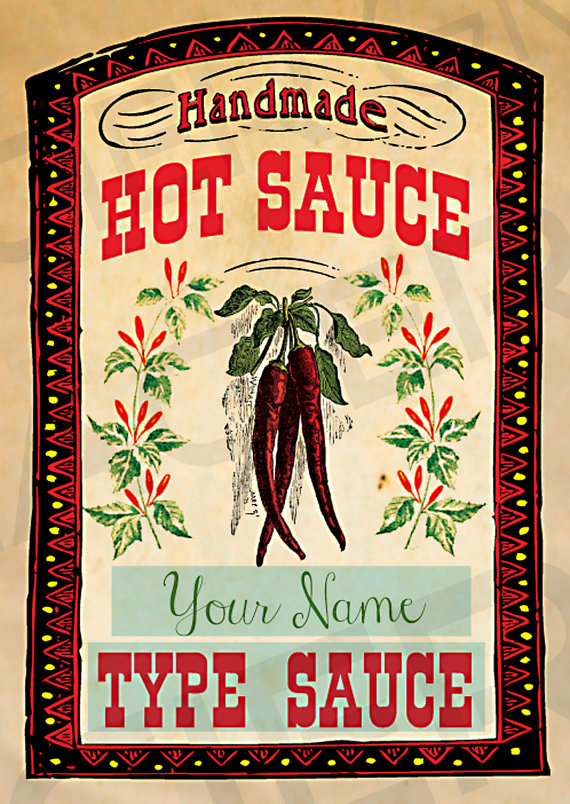 This Listing Is For A Set Of 16 Vintage Homemade Hot Sauce Labels Digital Printable Label Sheet