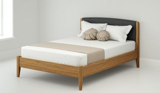 Yasmin 135cm Bed Frame And 135cm Headboard Pad Storm Linen Weave
