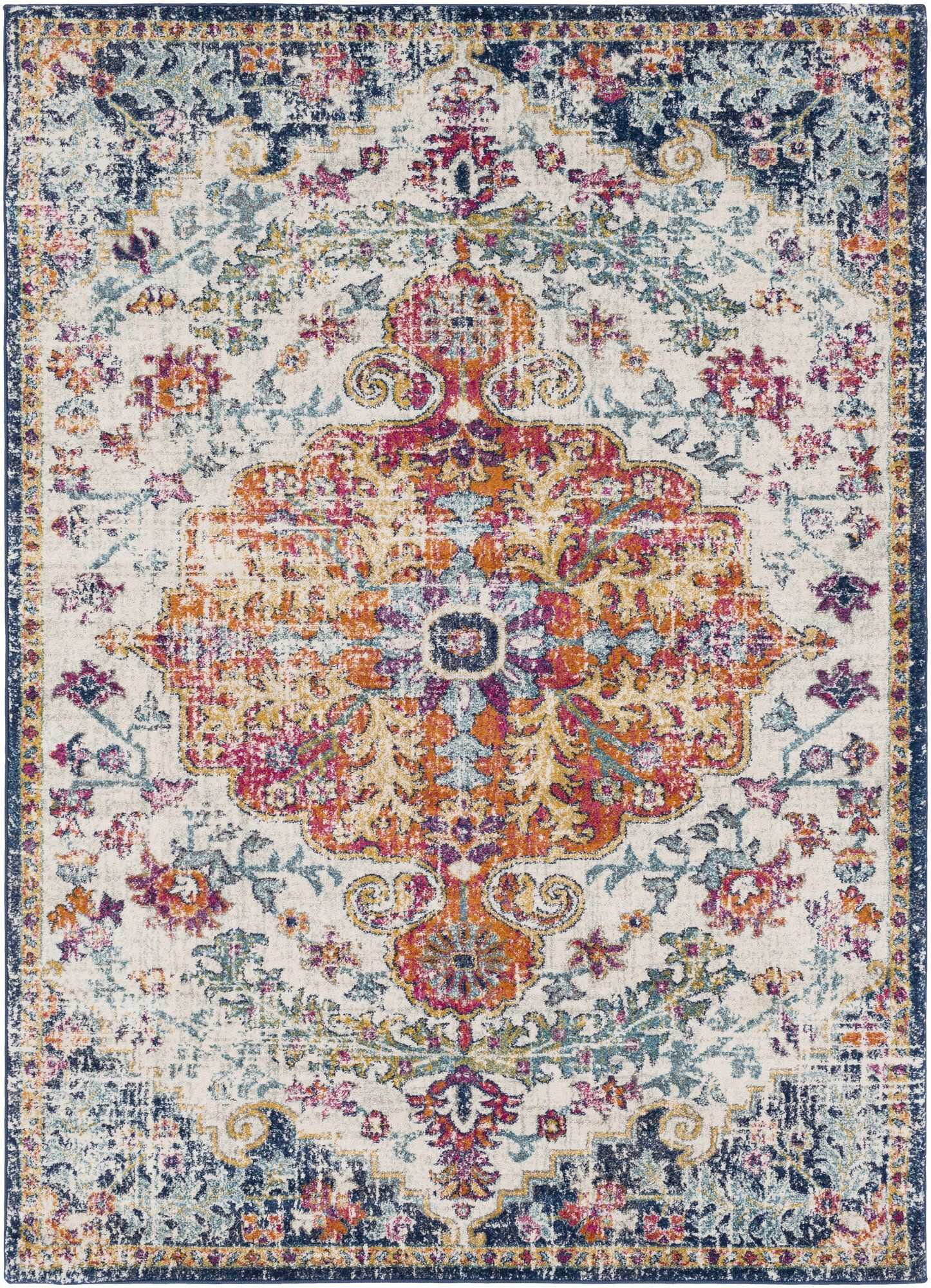 Hillsby Oriental Orange Navy Area Rug In 2019 Area Rugs