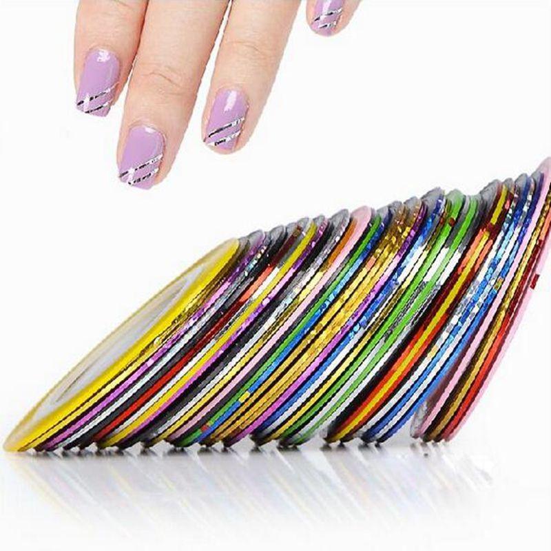 2014 nieuwe 10 stuks gemengde kleuren nail rolt striping tape lijn nail art tips decoratie sticker diy nagels verzorgen #8802