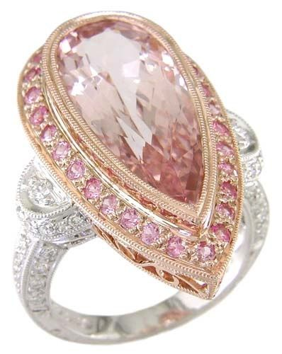 18KT White and Rose Gold Ring with 6.03* carats of Pink Beryl, 0.45* carats of Pink Sapphire, and 0.40 carts of Diamond
