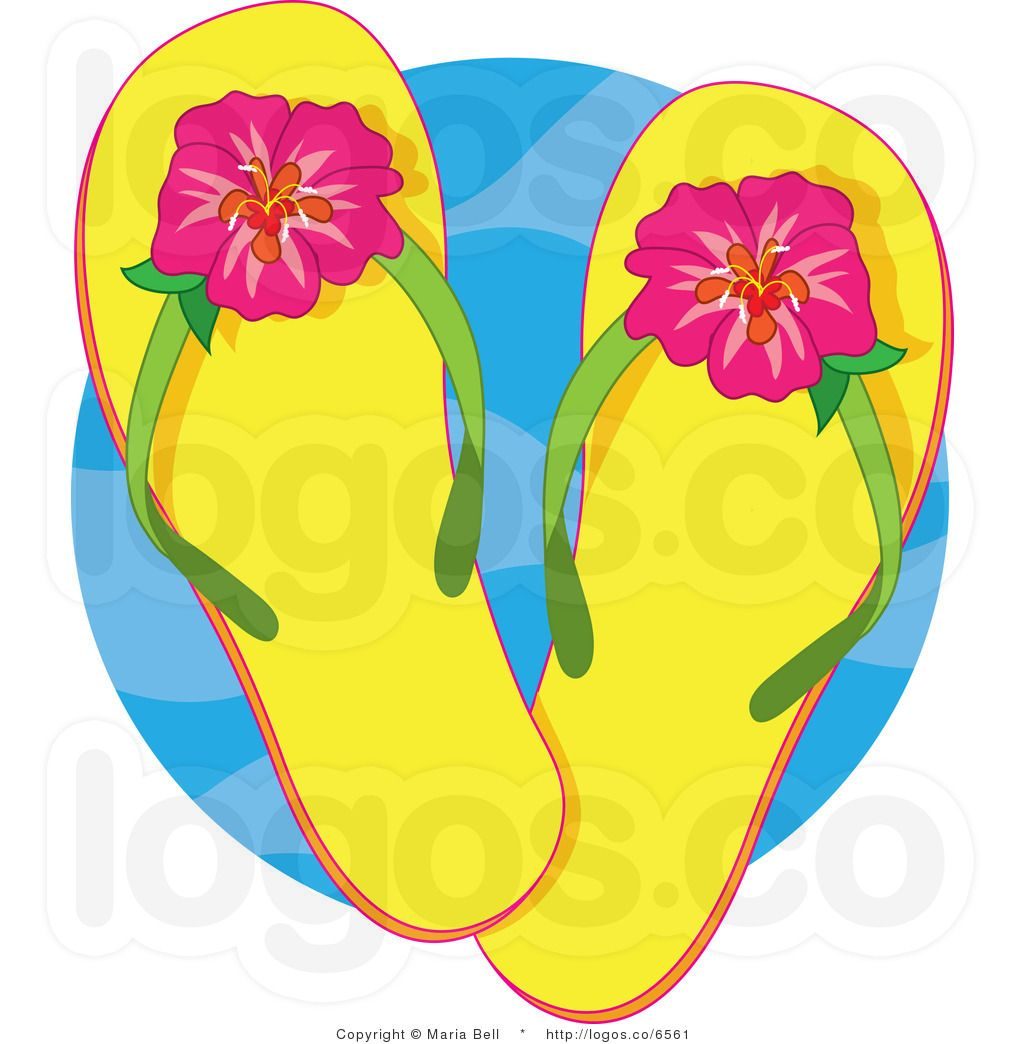 Royalty Free Clipart Yellow Flip Flops And Hibiscus Flower Logo By
