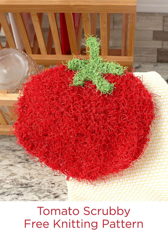Tomato Scrubby Free Knitting Pattern in Red Heart Scrubby yarn ...