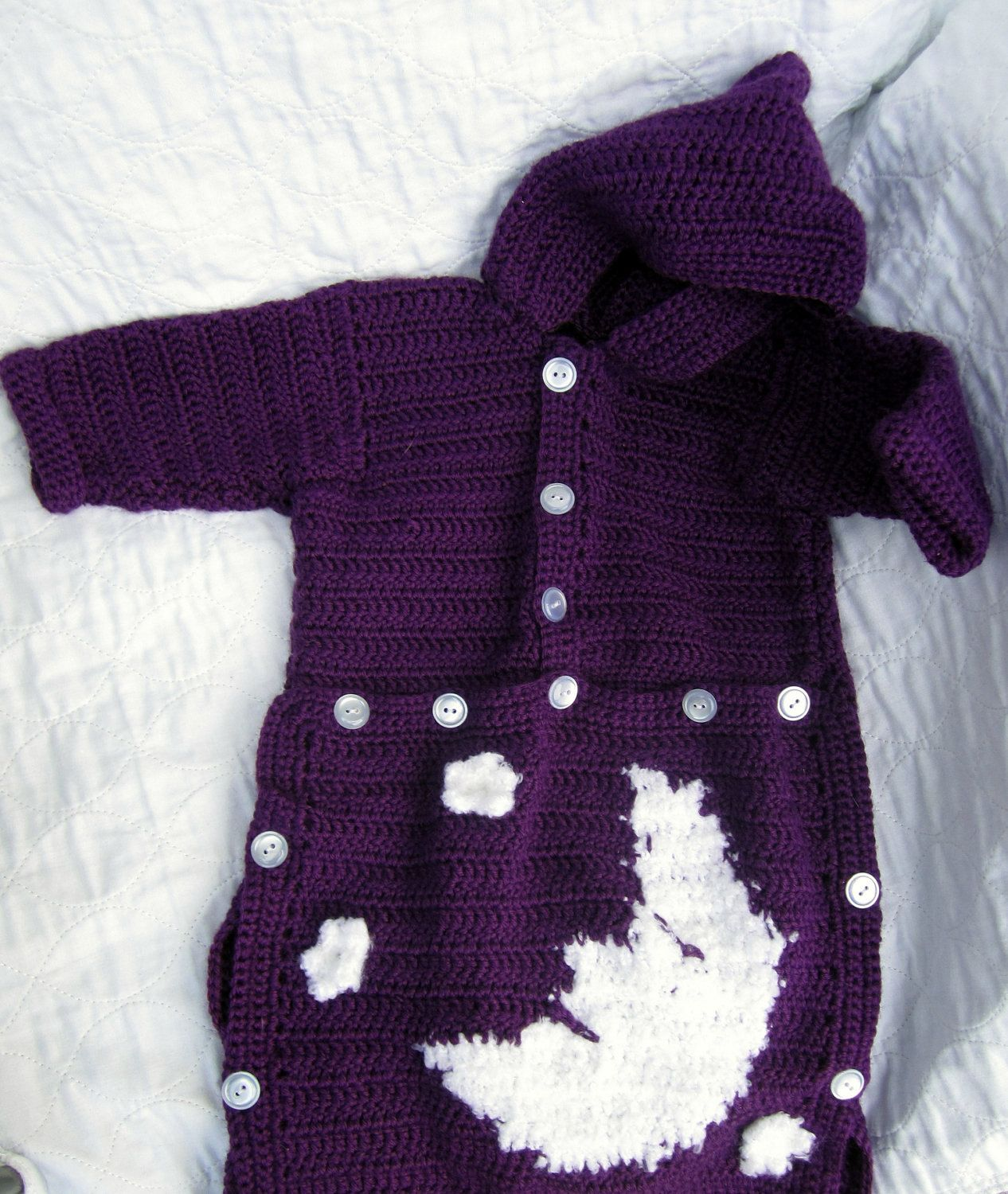 Crochet Moon and Stars Baby Bunting Sleeping Bag in Purple | Baby ...
