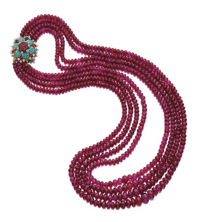 IMPORTANT RUBY, TURQUOISE AND DIAMOND NECKLACE