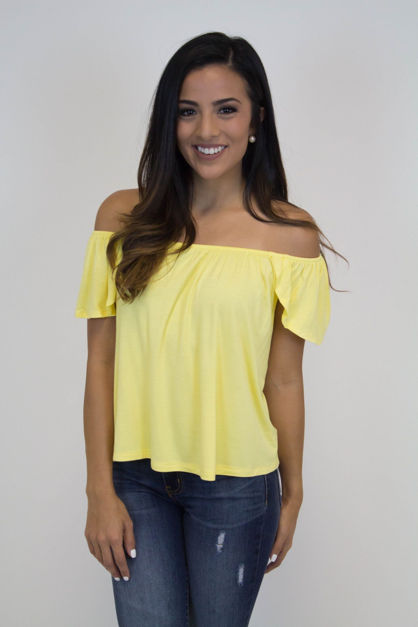 795bfe3575cac Yellow Off Shoulder Top