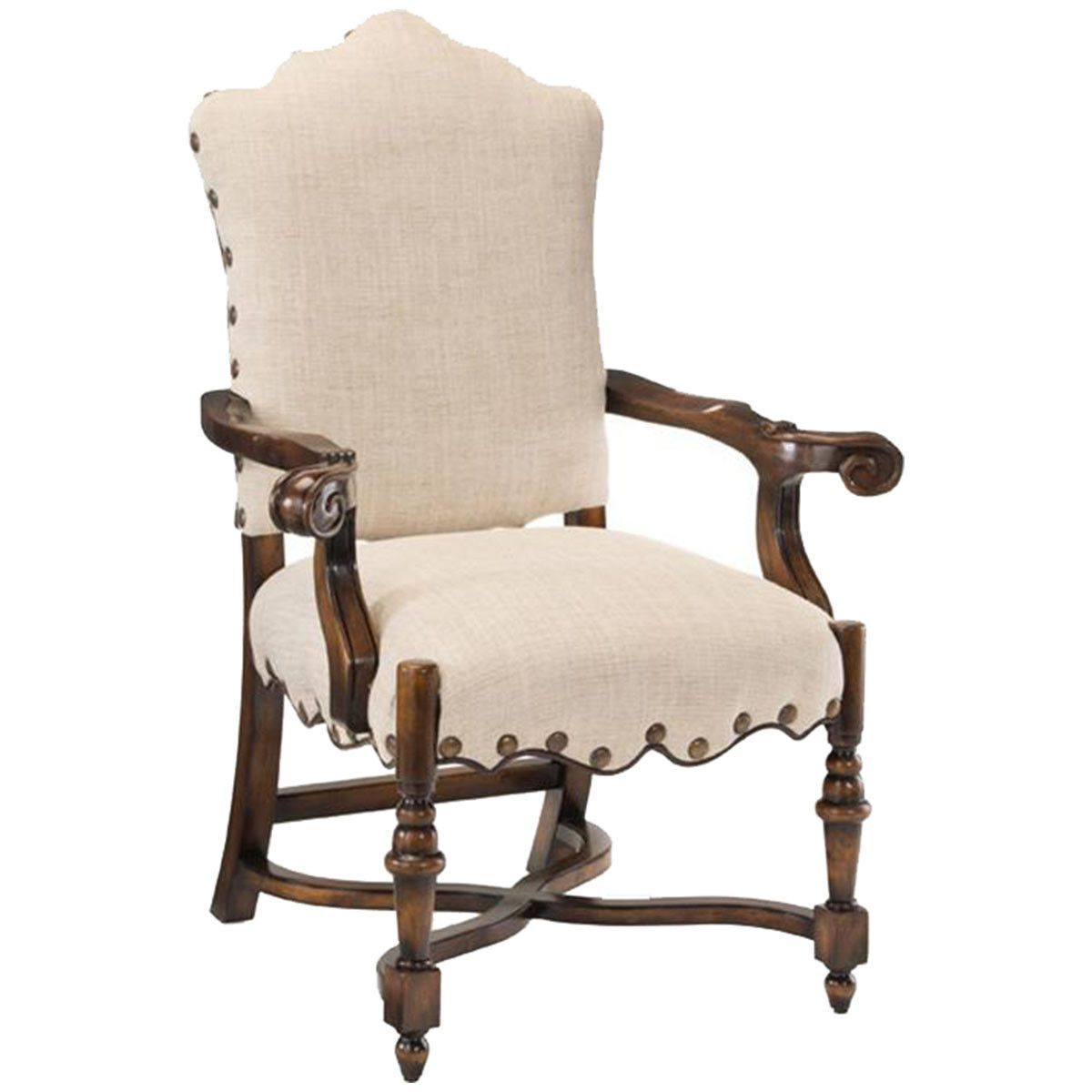 John Richard French Linen Dining Arm Chair
