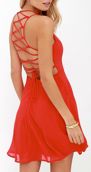 Good Deeds Red Lace-Up Dress