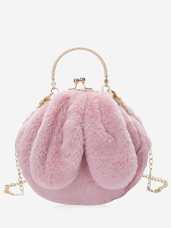 61e38466d56b Faux Fur Rabbit Ear Embellished Handbag - PINK