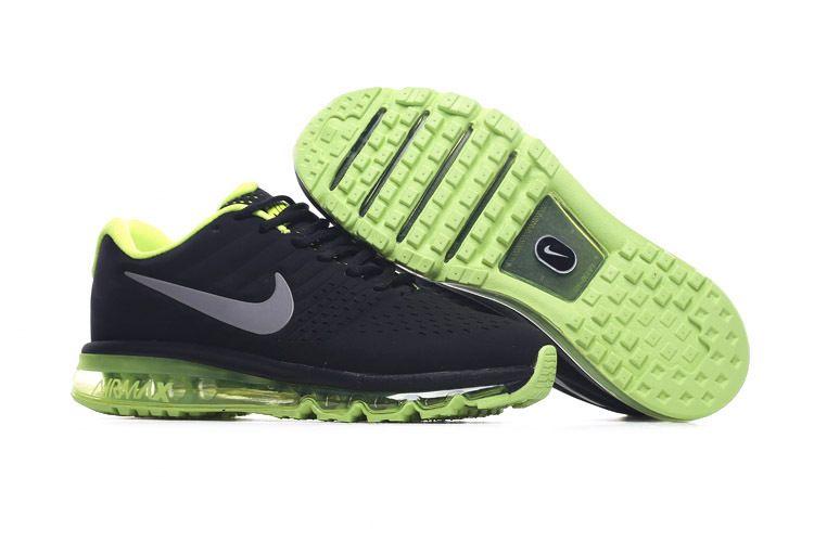 buy popular f5f22 fc227 Nike Air Max 2017 Leather Men s Running Shoe Black Green