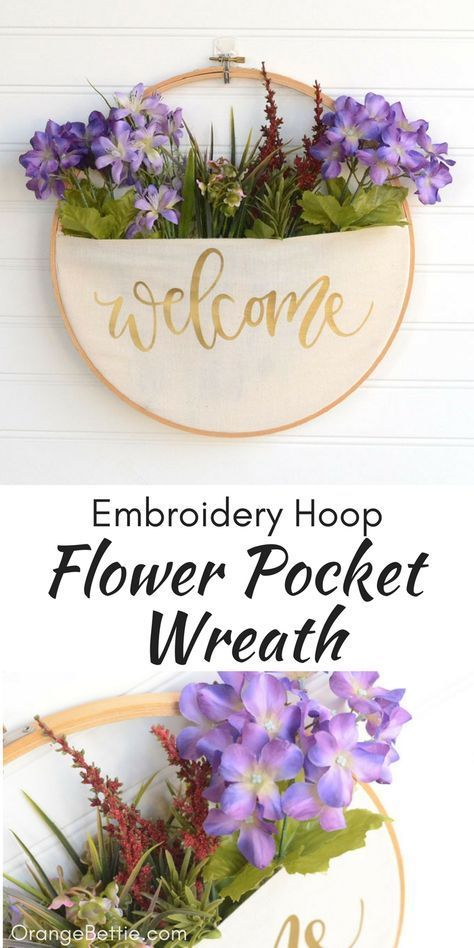 DIY Embroidery Hoop Pocket Wreath - No-Sew Tutorial #decoratehome