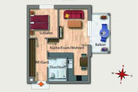 wohnung 07 1 obergeschoss 46 81 m aufteilung 2. Black Bedroom Furniture Sets. Home Design Ideas