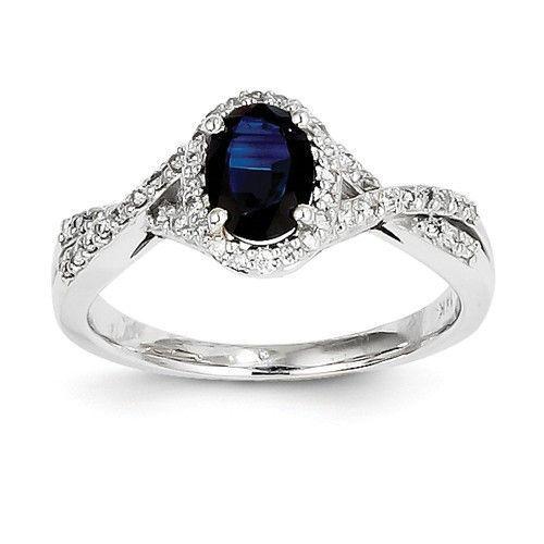 14k White Gold Genuine Blue Sapphire Oval Diamond Halo Twist Ring Sapphire Jewelry Pretty Rings White Gold Diamonds