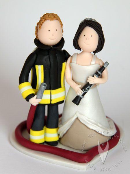 Hochzeitstortenfiguren feuerwehrmann