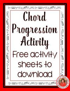 Music lessons  | guitar lessons  | Chord Progression Activity.  ♫  CLICK through  to download the free music worksheets  ♫    #musiceducation