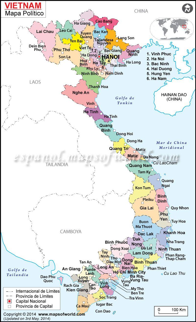 vietnam mapa Mapa Vietnam | Mapa de Países | Pinterest | Vietnam, Asia and Hanoi vietnam mapa