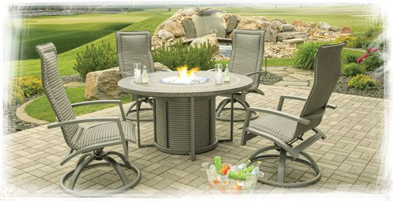 Homecrest S Mirage Collection High Back Swivel Rocker The Mirage Collection Has Been Discontinued However Replacement Par Fire Pit Patio Set Patio Patio Set