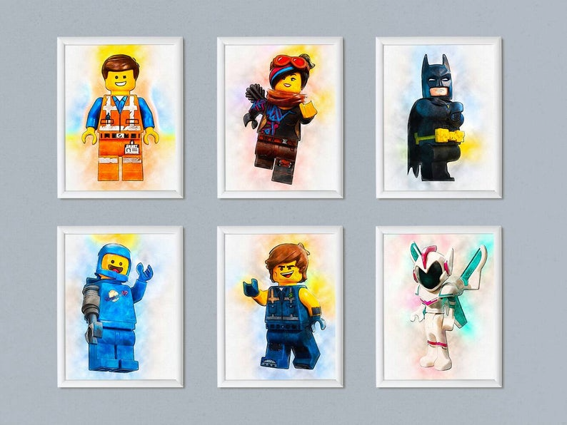 Set Of 6 The Lego Movie 2 Print Digital Download Printable Etsy In 2020 Kid Room Decor Art Wall Kids Lego Room
