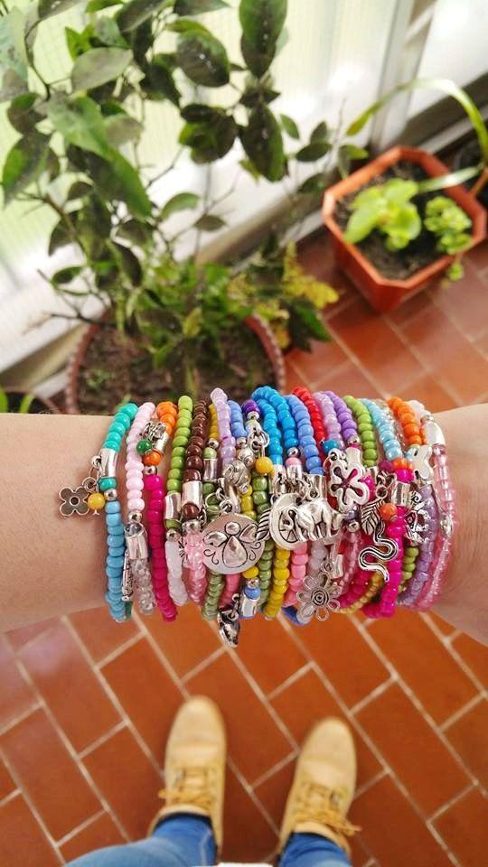 wholesale Bracelets - Boho Chic Colourful Summer Bracelets - seedbeed and metal - stretch bracelets - layering jewelry - bohemian bracelets (30.00 EUR) by TresJoliePT