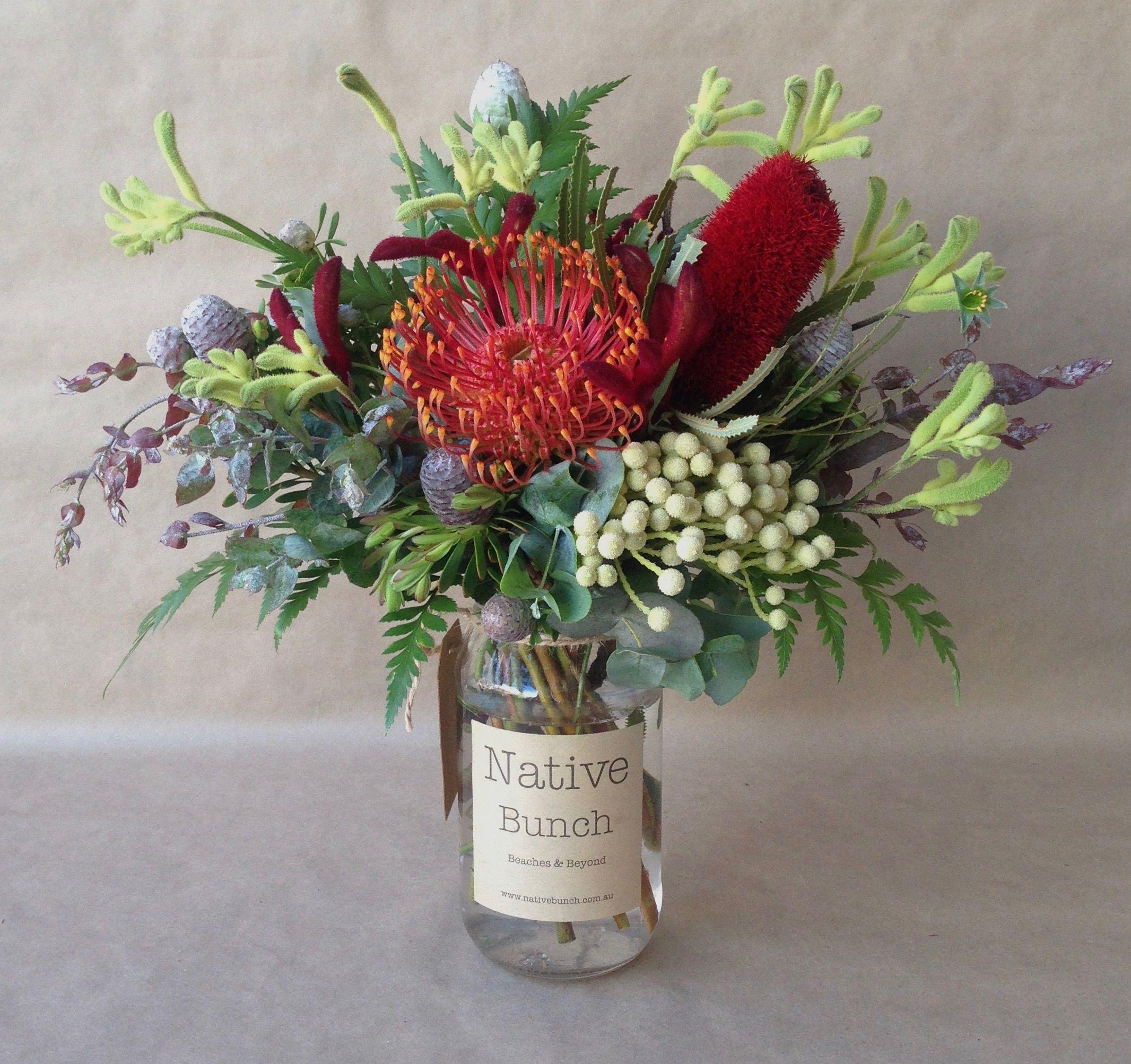 Australian native flowers, Kangaroo Paw, Banksia
