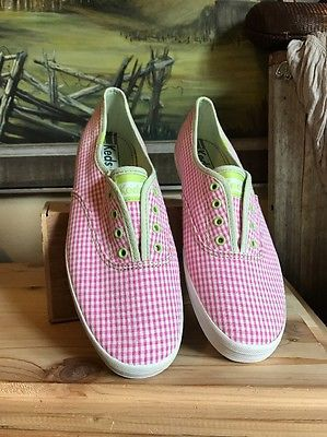 """KEDS Women's SNEAKERS IN PINK & WHITE CHECK """"picnic"""" SIZE 8 No Lace Mint New  