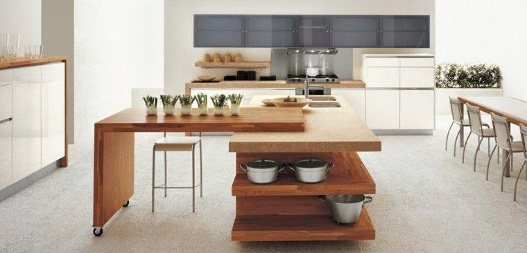 estupenda isla cocina madera granito | Interiores para cocina ...