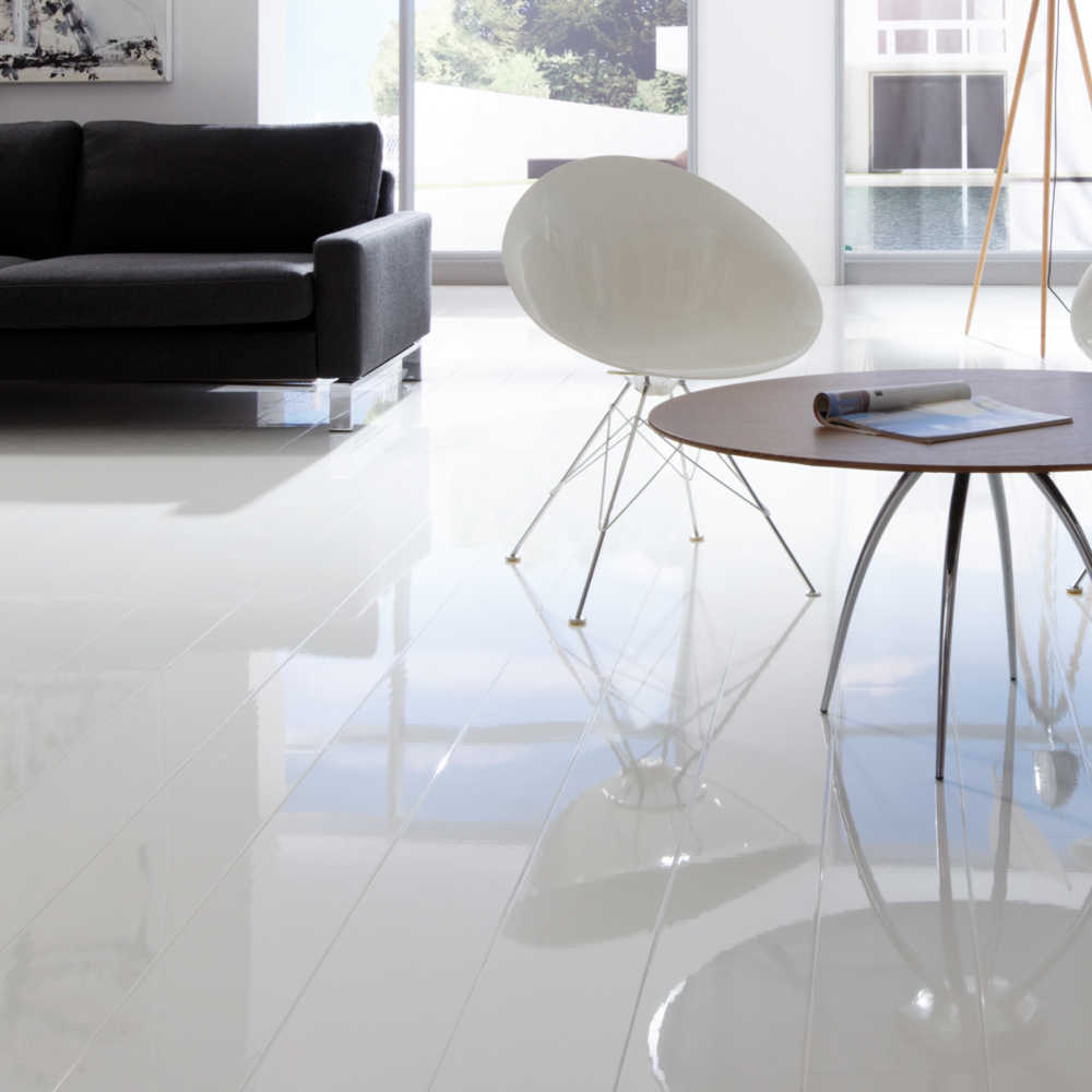 Gloss Tile Effect Laminate Flooring Part - 17: Elesgo Supergloss Extra Sensitive White Laminate Flooring