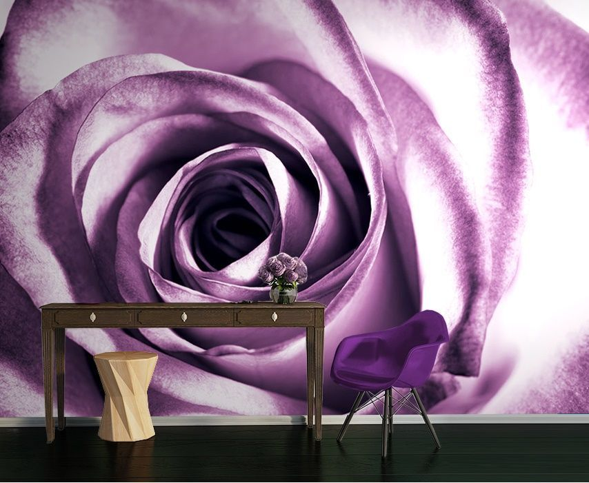 Large Size Purple Rose Flower Wall Murals By Nice Walls   Homewallmurals.co. Uk Part 38