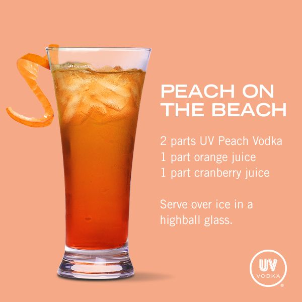 Uv Vodka Recipe Peach On The Beach Vodka Recipes Uv Vodka Recipes Alcohol Drink Recipes