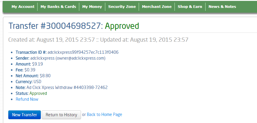 """I am getting paid daily at ACX and here is proof of my latest withdrawal. This is not a scam and I love making money online with Ad Click Xpress."""" Here is my Withdrawal Proof from AdClickXpress. I get paid daily and I can withdraw daily. Online income is possible with ACX, who is definitely paying - no scam here. I WORK FROM HOME less than 10 minutes and I manage to cover my LOW SALARY INCOME.  http://www.adclickxpress.com/?r=dusan95&p=w2"""
