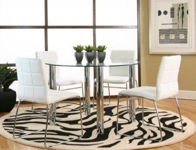 Amazon.com: Cramco Napoli Round Glass Top Dining Table: Furniture ...