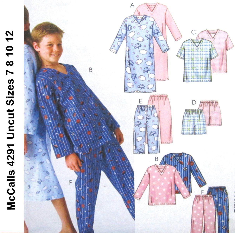 McCalls+4291+Pattern+Kids+Pajamas+and+Nightown+Boys+Girls+Size+7+8+ ...