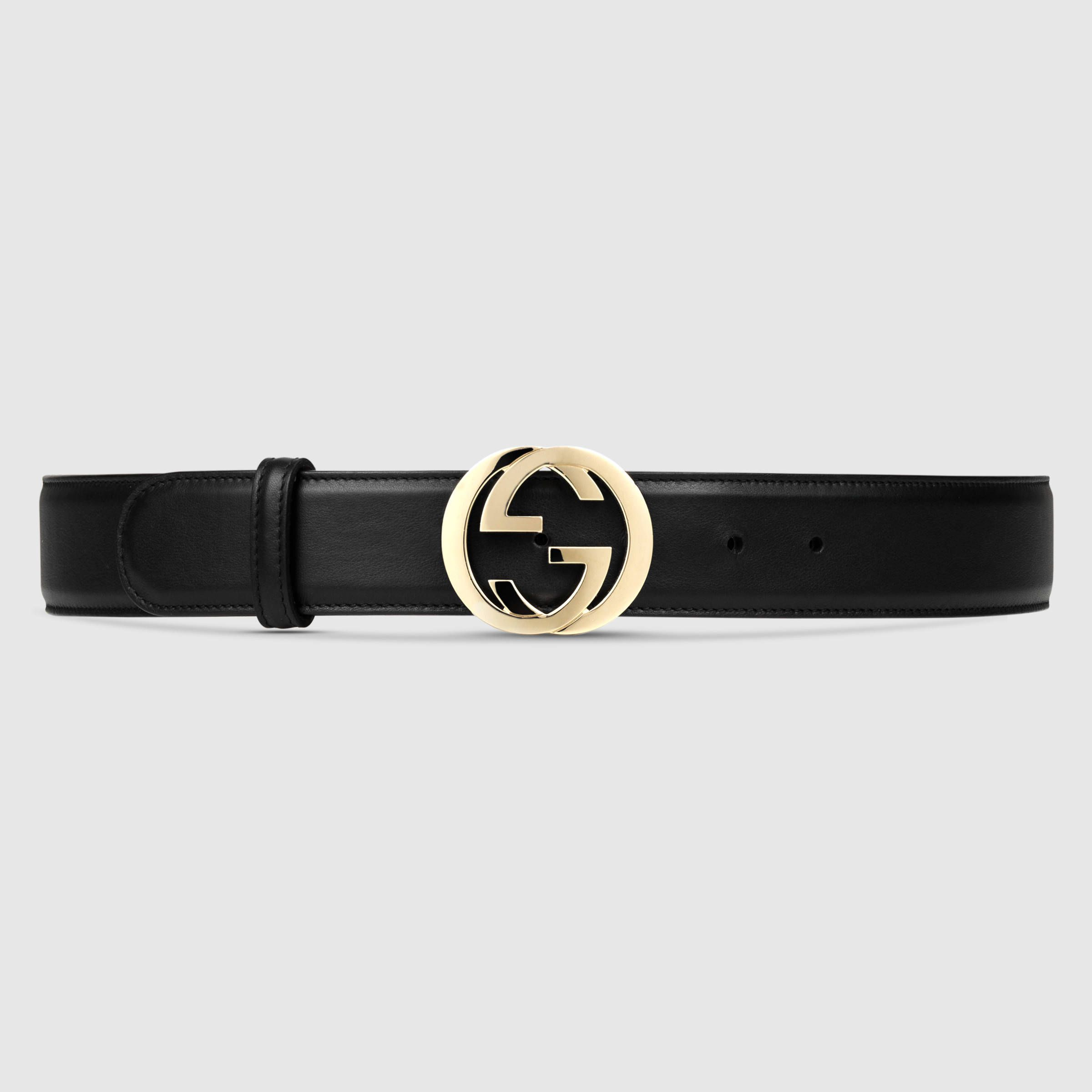 ad769822a74 Gucci Women - Leather belt with interlocking G - 370543AP00G1000