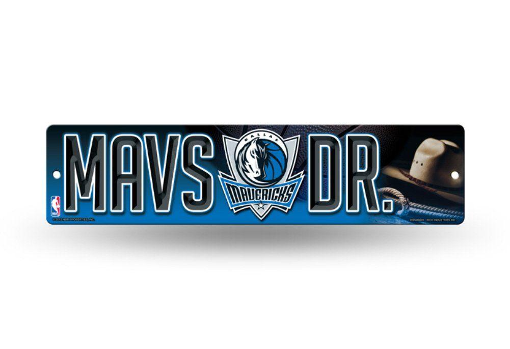 """Licensed NBA Dallas Mavericks (MAVS DR.) Team Colors And Logo 4"""" X 16"""" Wall Street Sign"""