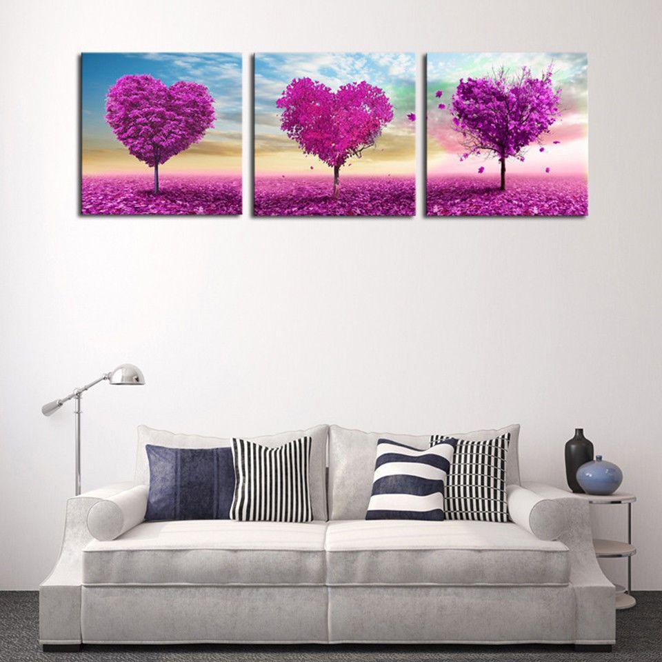 Hd love purple heart trees 3 panels framed canvas