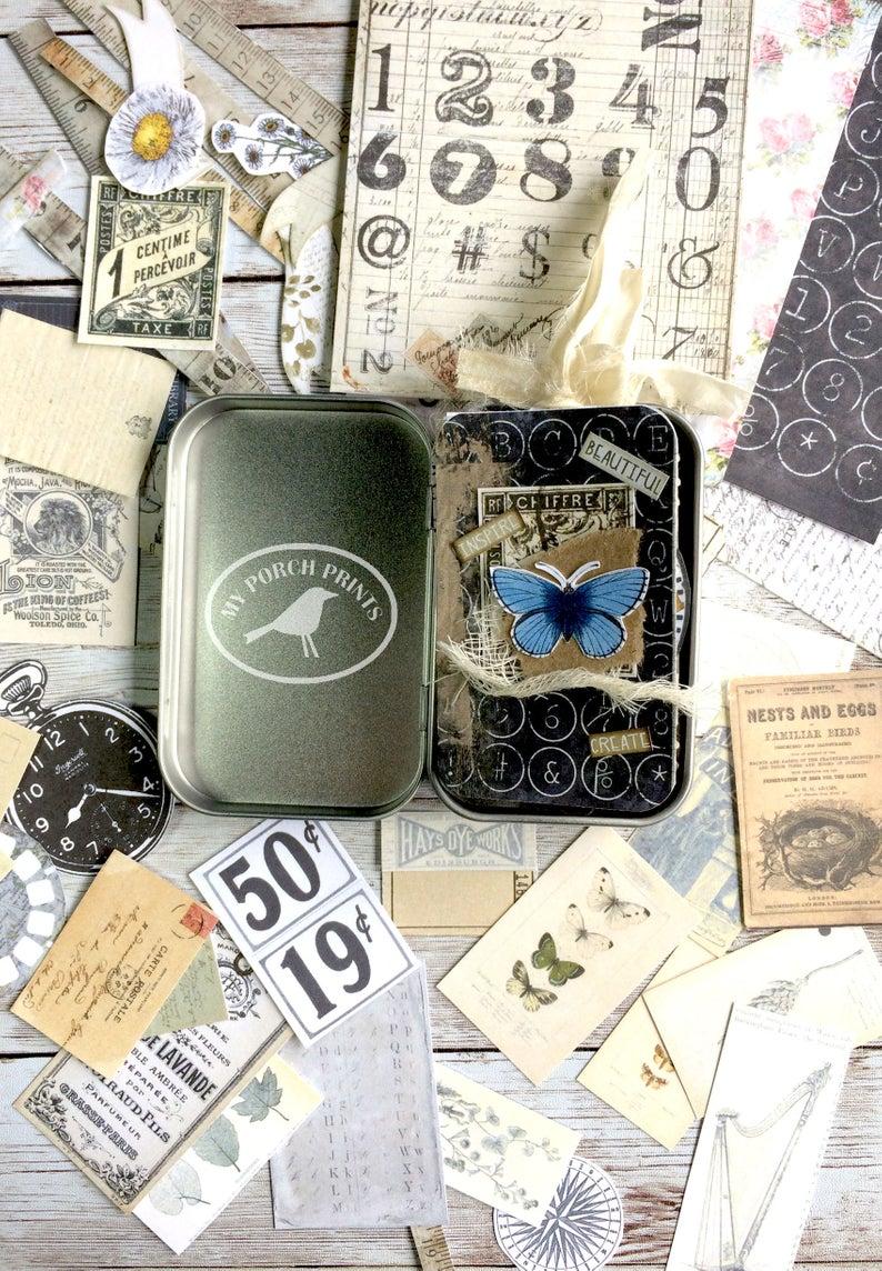mini junk journal Mini suitcase tin