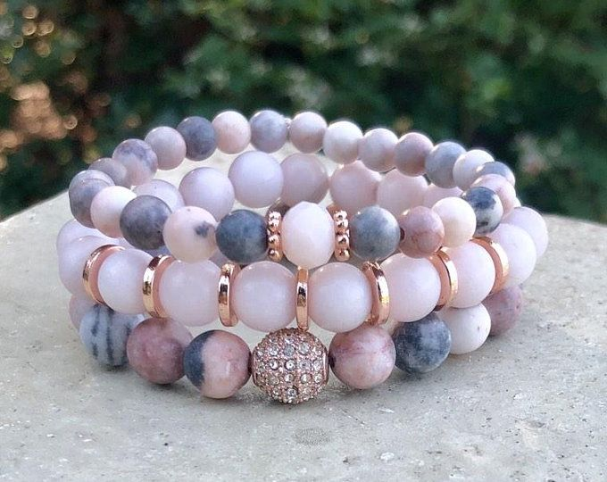 Gemstone Jewelry, Dendritic Rhodonite Matte Beaded Bracelets, Gold Bracelet, Stretch Bead Bracelets, Gemstone Bracelet, Chucky Elastic
