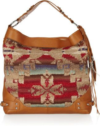 ShopStyle  Ralph Lauren Collection Beacon leather-trimmed woven linen hobo  bag 912401d2a26ab