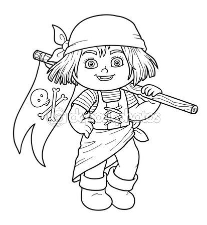 baixar coloring book for children pirate girl and flag ilustrao de stock - Coloring Book Paper Stock