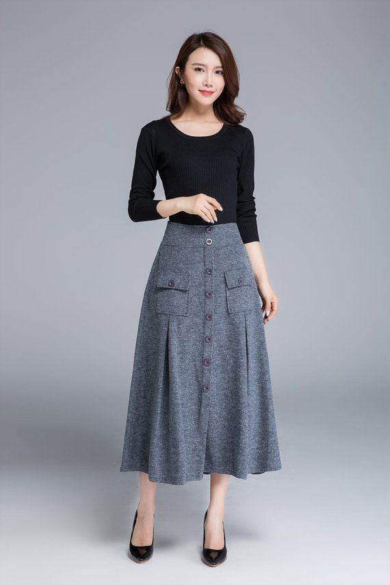 Grey skirt, wool skirt, button skirt, midi skirt, warm skirt, winter skirt, elastic waist skirt, womens skirts, made to order 1676 - Outfits for Work 1