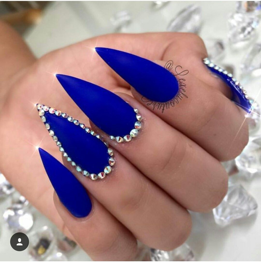 Blue Claws Blue Acrylic Nails Diamond Nails Stiletto Nails Designs