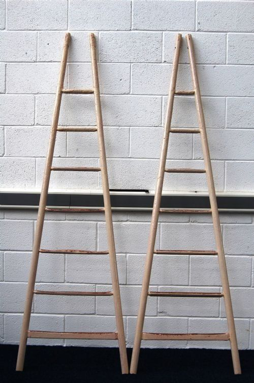 Antique French Painted Fruit Picking Ladders Photo Angle