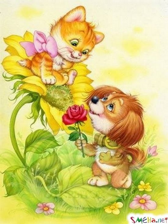 Детская открытка с котятами, днем рождения