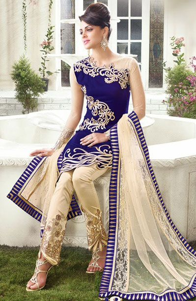 1edf270159 USD 116.44 Royal Blue Velvet Designer Salwar Kameez 42923 Fashion Pants, Indian  Dresses, Indian