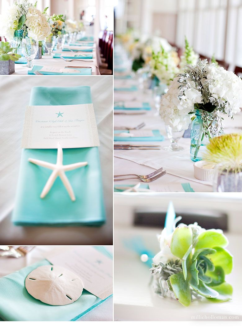 Turquoise, white, yellow and silver- Another pretty beach tablescape ...