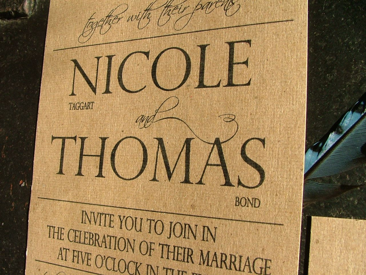 Wedding Invitations Simple and Bold  COME CELEBRATE deposit. $100.00, via Etsy.