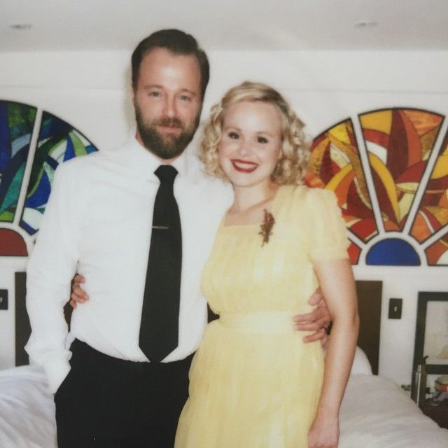Who says you have to wear white on your wedding day? // Not The Newsroom's Alison Pill // and doesn't she look all the more unique and happy for it?
